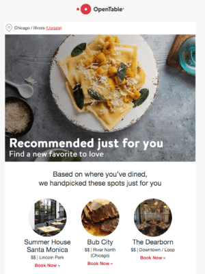 OpenTable recommendations