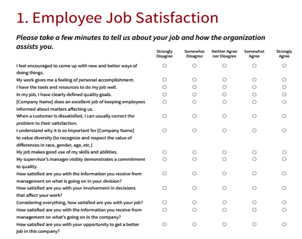 Example of an employee engagement survey to get a pulse on how employees feel about their job.