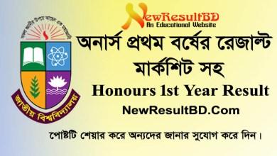 Honours 1st Year Result 2020 Marksheet, National University Honours First Year Exam Result, NU Results, Hons 1st, H1 Result, nu.ac.bd, Honors Exam Result.