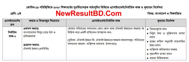 Class 6 4th Week Bangladesh & Global Identity Assignment Syllabus