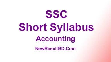 SSC Accounting New Short Syllabus 2021 (এসএসসি হিসাববিজ্ঞান সিলেবাস)
