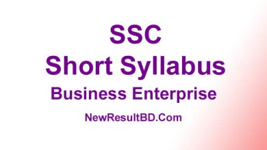 SSC Business Enterprise New Short Syllabus 2021 (এসএসসি ব্যবসায় উদ্যোগ সিলেবাস)