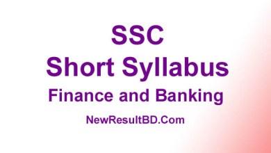 SSC Finance and Banking New Short Syllabus 2021 (এসএসসি ফিনান্স এবং ব্যাংকিং সিলেবাস)