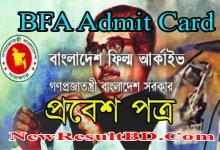 BFA Admit Card 2021