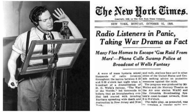 """Orson Welles na adaptação radiofônica de """"Guerra dos Mundos""""."""