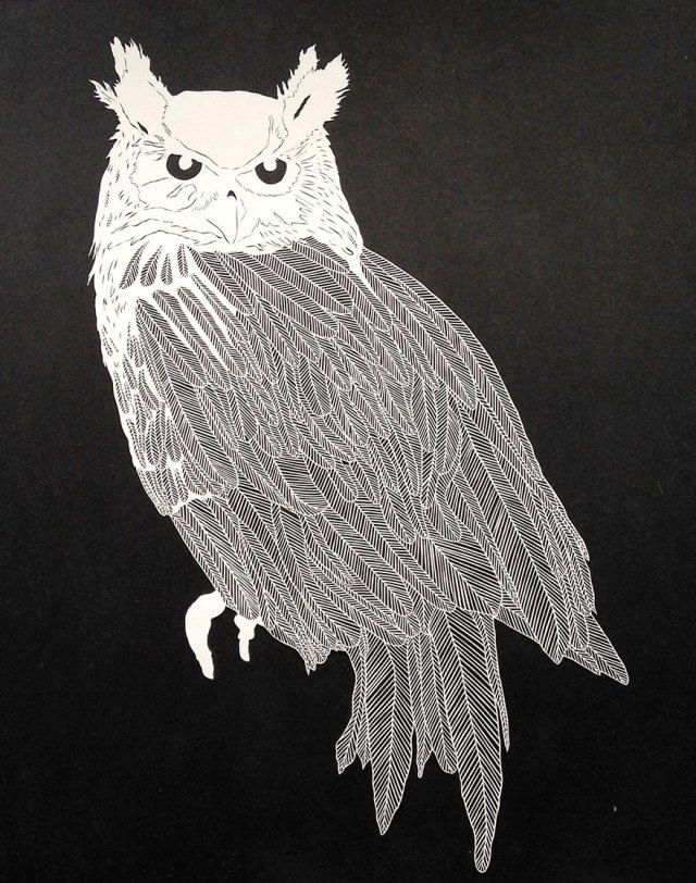 cool-delicate-cut-paper-art-illustrations-owl