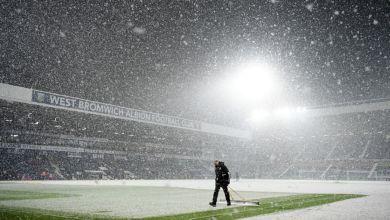 Photo of بالصور – الثلوج تغطي أرضية الملعب بالكامل ومنظر مثير قبل مباراة آرسنال