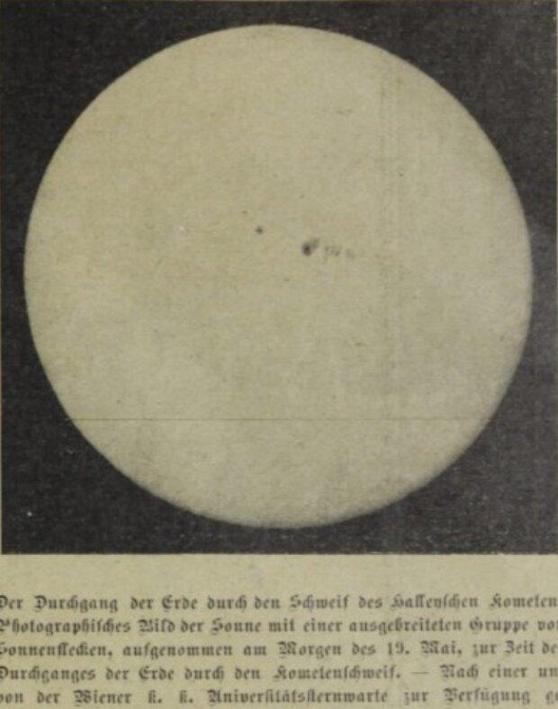 Комета Галлея на фоне солнечного диска, Das interessante Blatt, 1910 год