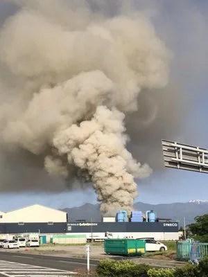 fire scene しんえこ リサイクルごみ処理場で火災
