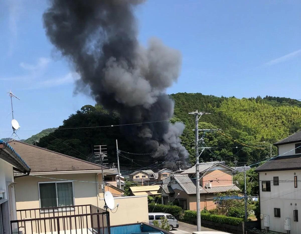 岡部宿大旅籠柏屋付近で火災 fire scene