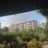 愛知県江南市後飛保町薬師 江南小学校付近で火事