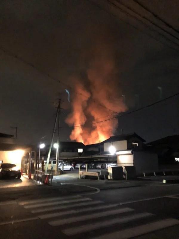 奈良県生駒郡斑鳩町興留東1丁目 火事 2019年12月7日