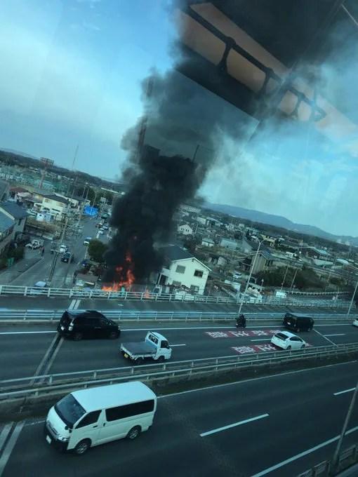 愛知県長久手市岩作床寒インター 火事 2020年1月15日