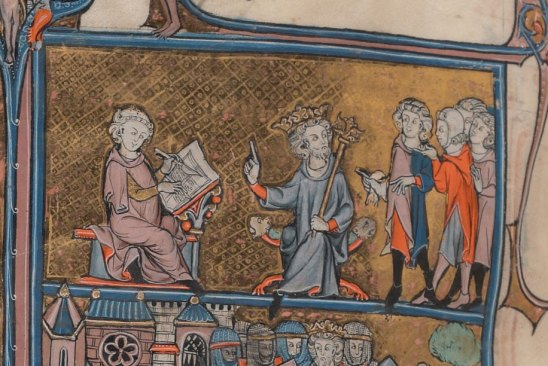 Manuscript illustration depicts King Henry II of England demanding that the Arthurian romances be written down. It is taken from the beginning of La mort au Roy Artus, in a 13th-century manuscript of Arthurian romances (Yale ms. 229, f. 272v, Beinecke Rare Book & Manuscript Library, Yale University