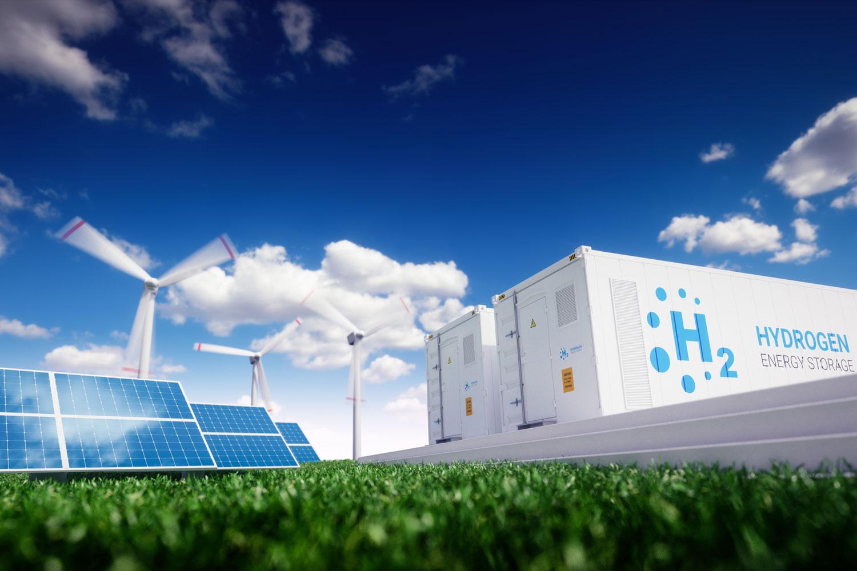 illustration of solar array, wind turbine and hydrogen storage units