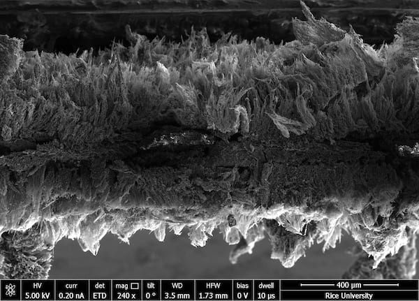 Seen in an electron microscope image, micron-scale sheets of graphene created at Rice University form a two-layer air filter that traps pathogens and then kills them with a modest burst of electricity. (Credit: Tour Group/Rice University)
