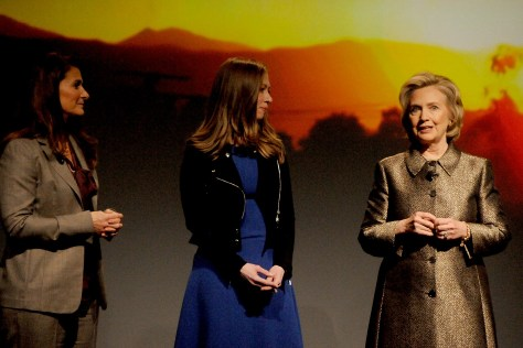Hillary Clinton with Chelsea Clinton and Melinda Gates. Senator Clinton is proposing to spend $2 billion a year on research into Alzheimer's which could potentially yield a cure by 2025. Two out of three Alzheimer's patients are women; 5 million are afflicted now and the number could swell to 15 million by 2050 © 2015 Karen Rubin/news-photos-features.com