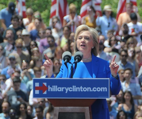"""Hillary Clinton, Democratic candidate for president, detailing a """"360 degree strategy to keep America safe,"""" said that shallow slogans don't add up to a strategy, and bluster and bigotry are not credentials for becoming commander-in-chief © 2015 Karen Rubin/news-photos-features.com"""