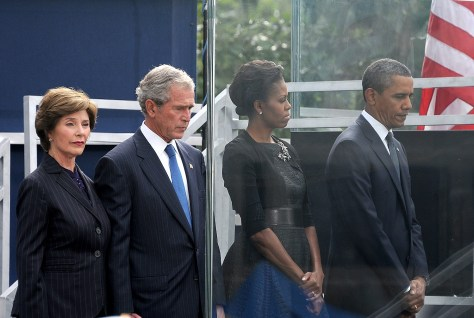 President Barack Obama, First Lady Michelle Obama, former President George W. Bush and Laura Bush at 10-year commemoration ceremony of September 11, 2001 attacks at Ground Zero, World Trade Center, New York City © 2015 Karen Rubin/news-photos-features.com