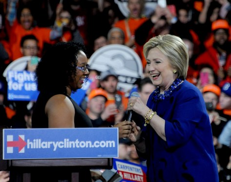 "Hillary Clinton greets Aleatha Williams, who introduced Clinton at the NYC rally saying, ""She kept her promise to me, a young girl from the Bronx. That's the type of person we need in the Oval office."" © 2016 Karen Rubin/news-photos-features.com"