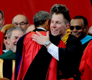 President Obama greets Rutgers University class president Matthew Panconi at the 250th anniversary commencement © 2016 Karen Rubin/news-photos-features.com