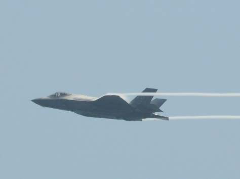 America's newest warplane, the F35. Hillary Clinton, in a major foreign policy speech, raises questions about Donald Trump's fitness to be Commander-in-Chief: 'Imagine if he had not just his Twitter account at his disposal when he's angry, but America's entire arsenal.' © 2016 Karen Rubin/news-photos-features.com