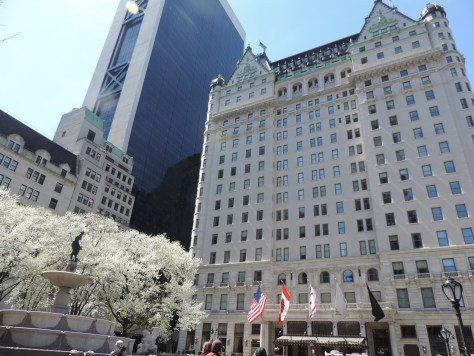 "Plaza Hotel, New York: ""The myth of Donald Trump reached its zenith in 1988, the year that his book, The Art of the Deal, was published. That year, Trump bought the Plaza Hotel, a crown jewel of New York real estate; he also bought a 282-foot yacht, and a fleet of airplanes owned by Eastern Air, which he renamed the Trump Shuttle,"" The New York Times reported. By December 1990, as all of his ventures neared collapse, he filed for bankruptcy on the Plaza (© 2016 Karen Rubin/news-photos-features.com)."