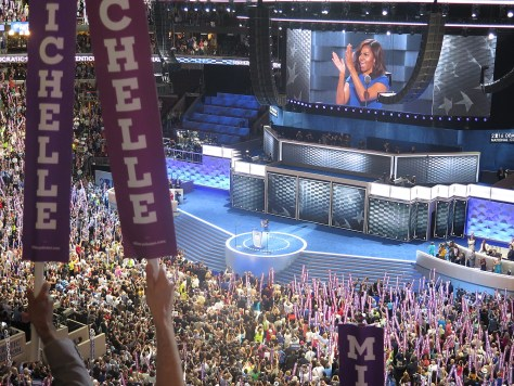 Michele Obama wows the Democratic National Convention talking about why character matters so much in the Oval Office (c) Karen Rubin/news-photos-features.com