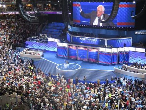 Vermont Senator Bernie Sanders was accorded the stage at the Democratic National Convention where he gave a full-throated endorsement of Hillary Clinton for president, but his supporters booed and heckled the entire night (c) 2016 Karen Rubin/news-photos-features.com