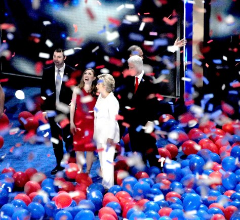 Hillary Clinton celebrates her nomination for President with family at the Democratic National convention © Karen Rubin/news-photos-features.com