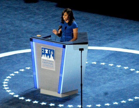 "First Lady Michelle Obama tells the Democratic National Convention ""don't let anyone ever tell you that this country isn't great, that somehow we need to make it great again. Because this right now is the greatest country on earth!"" © 2016 Karen Rubin/news-photos-features.com"