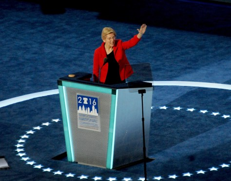 """US Senator Elizabeth Warren (D-MA) tells the Democratic National Convention """"If you believe that America must work for all of us, not just the rich and powerful, if you believe we must reject the politics of fear and division, if you believe we are stronger together, then let's work our hearts out to make Hillary Clinton the next President of the United States!""""  © 2016 Karen Rubin/news-photos-features.com"""
