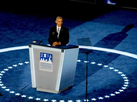 President Barack Obama addresses the Democratic National Convention, Philadelphia, July 27, 2016 © 2016 Karen Rubin/news-photos-features.com