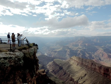 Just a few of the 5 million visitors a year who marvel at Grand Canyon National Park. Obama is honoring the National Park Service on its centennial and has designated 22 national monuments during his tenure; Republicans want to allow logging and uranium mining at the Grand Canyon © 2016 Karen Rubin/news-photos-features.com
