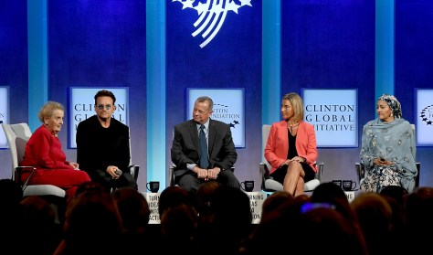 Madeleine K. Albright, chair , Albright Stonebridge Group chairs panel with Bono, lead singer of U2 and co-founder of ONE Campaign; John R. Allen, Brookings Institution, Frederica Mogherini, European Union; Amina Mohammed, Minister of Environment, Nigeria © 2016 Karen Rubin/news-photos-features.com