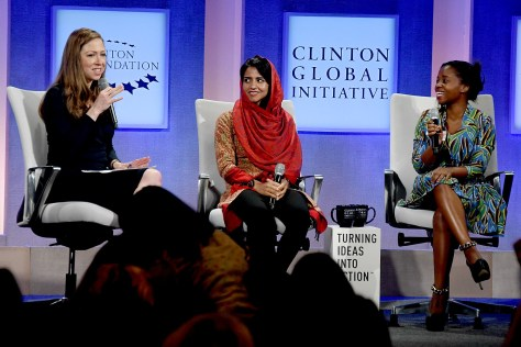 Chelsea Clinton, Vice chair, Clinton Foundation, with Sonita Alizadeh, artist and Activist, The Strongheart Group, and Memory Banda, Girl Leader and Advisory Board Member, Rise Up, addressing efforts to combat cultural practices of child marriage and female genital mutilation © 2016 Karen Rubin/news-photos-features.com