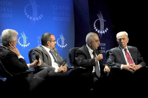 President Bill Clinton, Bahrain Crown Prince Salman bin Hamad Al-Khalifa, Palestine National Authority Prime Minister Salam Fayyad, and Israel President Shimon Peres give vision of peace at 2010 Clinton Global Initiative. © 2016 Karen Rubin/news-photos-features.com