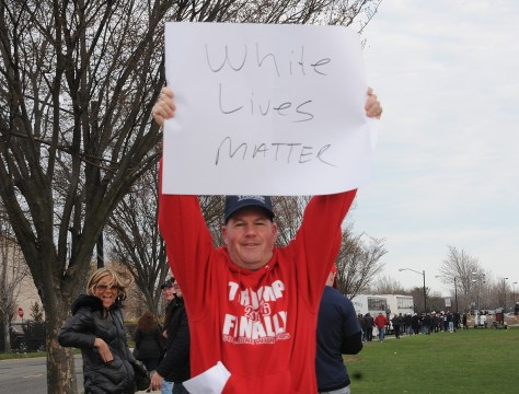 """Supporter at Donald Trump rally, Bethpage, Long Island, NY, holds sign, """"White Lives Matter"""" © 2016 Karen Rubin/news-photos-features.com"""