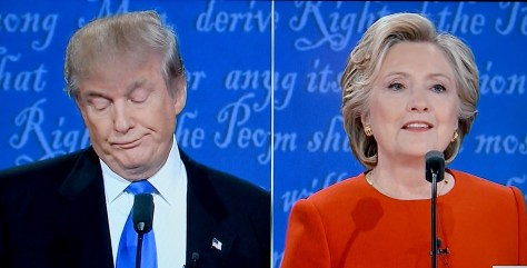 First match-up between Donald Trump and Hillary Clinton at the first presidential debate, held at Hofstra University, Long Island, September 26, 2016, was no match © 2016 Karen Rubin/news-photos-features.com