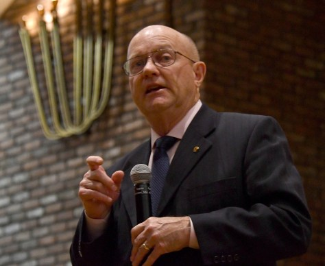 """Col. Lawrence Wilkerson, former chief of staff to Secretary of State Colin Powell and a member of the Climate Security Working Group, speaking on """"The Consequences of Climate Change: A National Security Perspective,"""" says the planet cannot afford 4 or 8 years of reversals on climate action if we are to avoid topping 2 degrees more. By 2065, there will be a hundred million desperate climate refugees. © 2016 Karen Rubin/news-photos-features.com"""