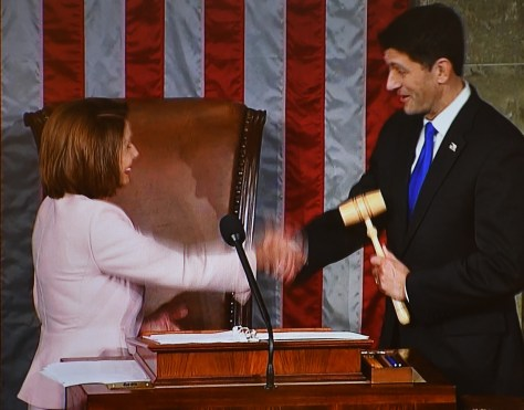 Minority Leader Nancy Pelosi passes gavel to Speaker of the House Paul Ryan at the opening of the 115th Congress © 2017 Karen Rubin/news-photos-features.com