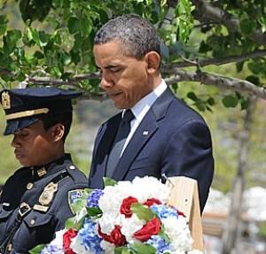 President Barack Obama lays wreath at Ground Aero, World Trade Center, New York City, May 5, 2011, four days after death of Osama bin Laden © 2017 Karen Rubin/news-photos-features.com