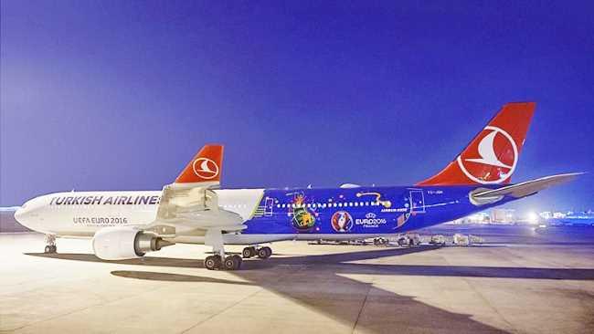 Turkish Airlines покажут матчи Евро-2016 своим пассажирам