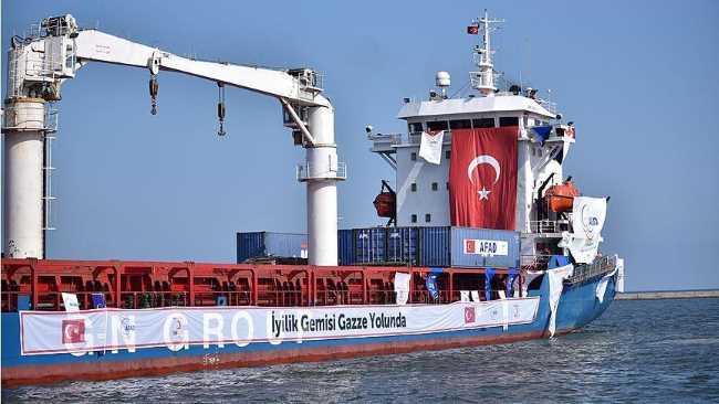 Корабль с помощью отправлен в Газу из Мерсина