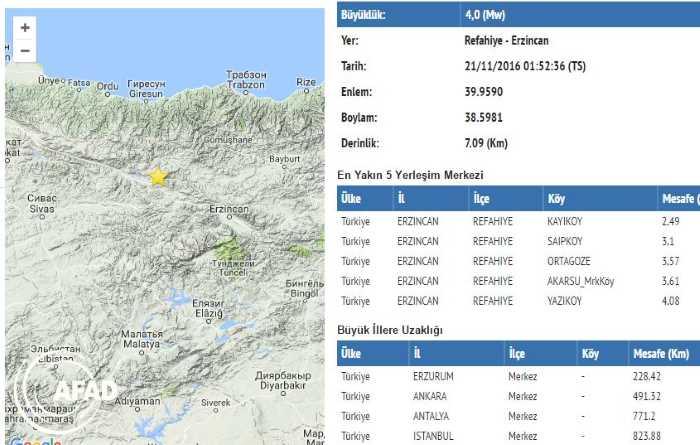 Землетрясение магнитудой 4,0 произошло на востоке Турции