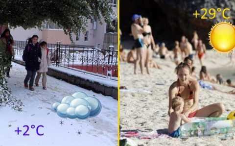 Снег на севере и полные пляжи на юге Турции