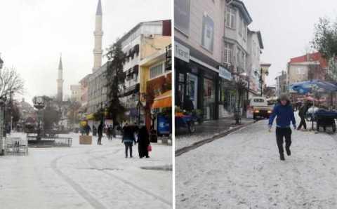 Белые улицы Эдирне и Бурсы в конце марта