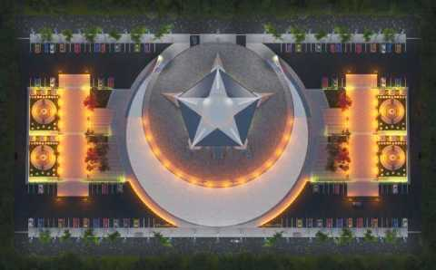 В Турции строят мечеть в виде полумесяца со звездой
