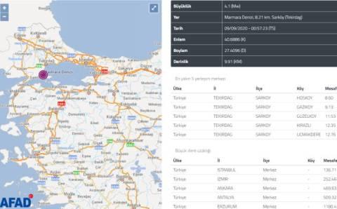 Ночное землетрясение в Мраморном море