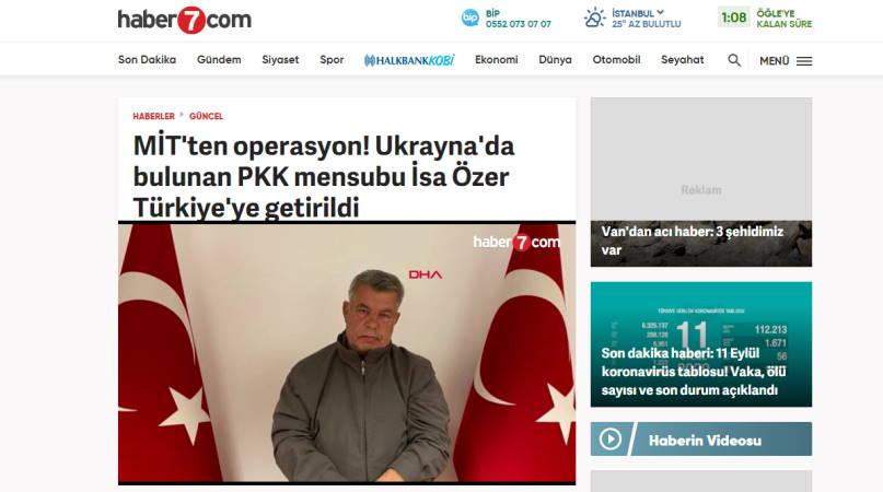 В Турцию из Украины доставлен член РПК Иса Озер